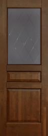 Изображение товара Межкомнатная дверь из массива Ока Валенсия Античный орех остекленная