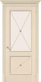 Изображение товара Межкомнатная шпонированная дверь Белорусские двери Луи II Д-15 (Ваниль) остекленная