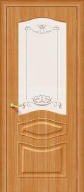 Изображение товара Межкомнатная дверь с ПВХ-пленкой Браво Модена П-18 (МиланОрех) остекленная
