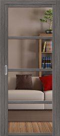 Изображение товара Межкомнатная дверь с эко шпоном el`PORTA Твигги V4 Crystalline Grey Veralinga остекленная