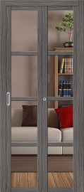 Изображение товара Межкомнатная складная дверь с эко шпоном el`PORTA Твигги V4 Crystalline Grey Veralinga остекленная