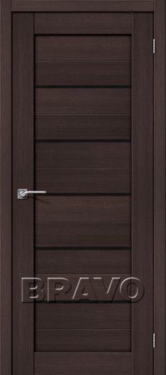 Изображение Межкомнатная дверь с эко шпоном Браво Порта-22 Wenge Veralinga/Black Star остекленная