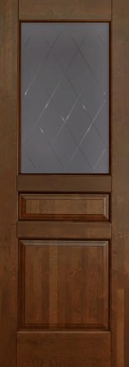 Изображение Межкомнатная дверь из массива Валенсия Античный орех остекленная