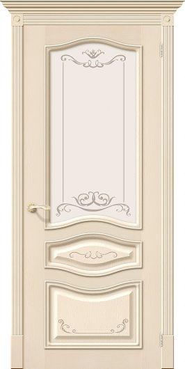 Изображение Межкомнатная шпонированная дверь Белорусские двери Леона Деко Д-15 (Ваниль) остекленная