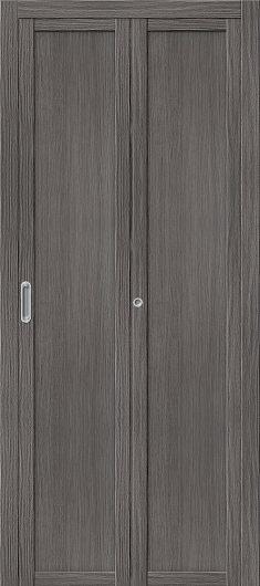 Изображение Межкомнатная складная дверьс эко шпоном el`PORTA Твигги M1 Grey Veralinga глухая